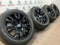 "GENUINE 19"" BMW X5 ALLOY WHEELS & BRIDGESTONE TYRES - 5 x 120 - GLOSS BLACK FINISH"