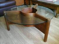 A Mid Century Teak Glass Top Coffee Table