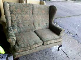 Antique 2 seater wing back sofa
