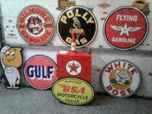 RETRO  GASOLINE  BEER AND SODA SIGNS