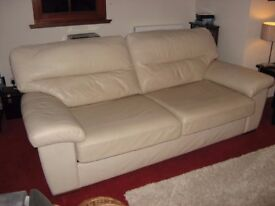 Sofa - large cream leather 4 seater ex Marks and Spencer