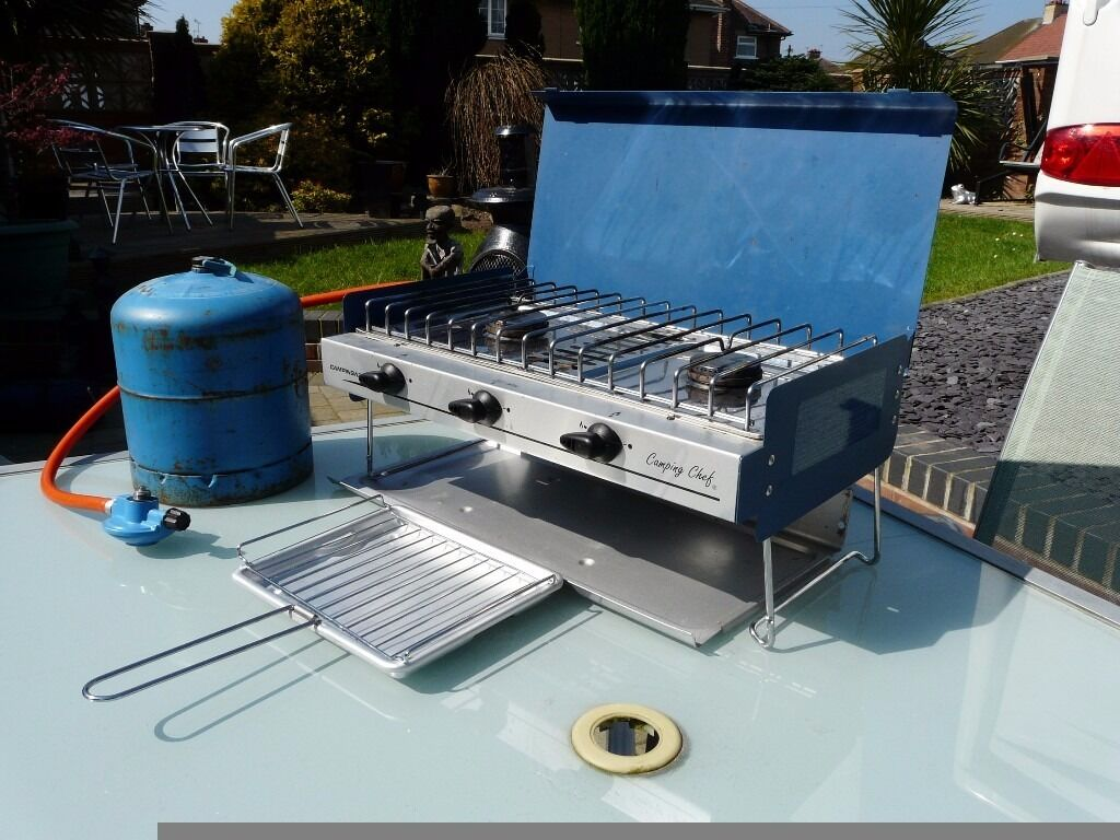 CAMPINGAZ CAMPING DOUBLE BURNER WITH GRILL, PIPE, REGULATOR, 1/2 ...