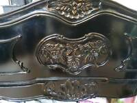Solid wood, black rococo kind size bed