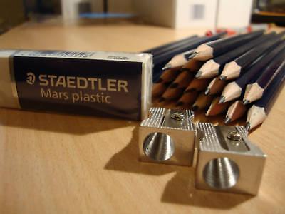 24 HB Pencils + 2 Sharpeners + Staedtler Mars Eraser Set