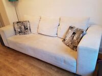 Large cream fabric sofa. REDUCED PRICE due to moving house