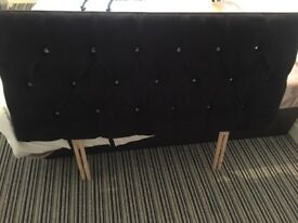Black double head board - with diamonties