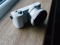 Sony A5000 digital camera in white with 16-50mm kit lens