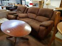 Suede reclining 2 seater with matching armchair