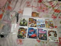 WII NTSC CONSOLE BUNDLE 9 GAMES,WII REMOTE,LEADS ETC