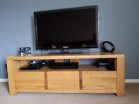 Solid Oak Three Drawer Television Unit