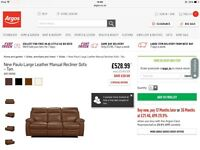 Brand New Large Tan Leather Reclining Sofa