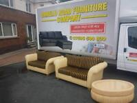 Cream leather, gold and black material 2×2 seater sofas