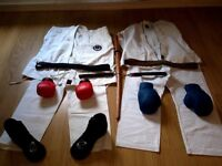 karate suits and sparring equipment