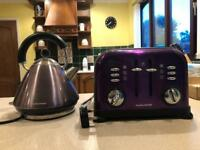 Morphy Richards purple 4 slice toaster and kettle