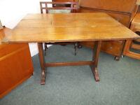 Vintage Oak Drop Leaf Dining Table With Brass Detailing