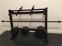 Weights set - dumbbells - barbell - weight rack
