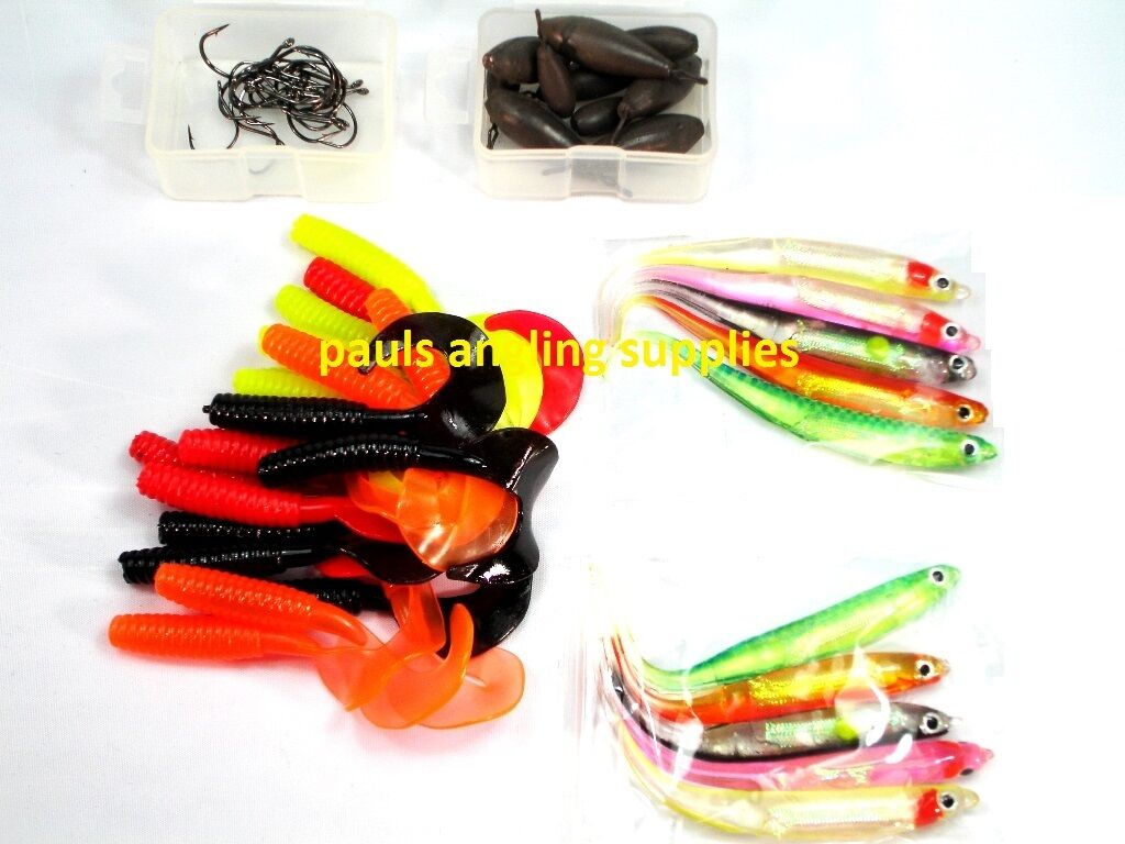Drop Shot Lure Set  Fishing Lures Hooks Weights Twin Tails 50 Piece