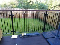 16m Metal Railings with mahogany rail