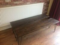 2 X SOLID BEECH BENCHES (STAINED DARKER) HAIR PIN LEGS - 12MM 3 PRONG - CAN DELIVER - VERY STURDY