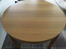 Round Dining Table Extendable Oak Veneer Ikea Bjursta