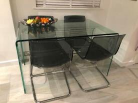 Glass table, 4 chairs