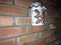 Garden wall t light ornaments painted ceramic