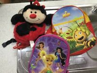 backpacks for chidlren. Princesses, maya the bee and ladybird