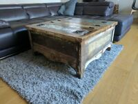 Rustic reclaimed wood coffee table with storage