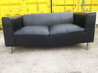 Black 2 Seater Leather Sofa Couch - DELIVERY AVAILABLE
