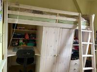 Wardrobe And Desk Under White High Sleeper Bed