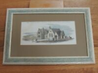 Framed Antique Print of Battle Railway Station Dated 14th February 1852