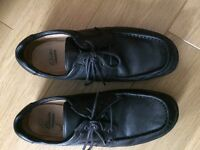 Gents Clarks black leather shoes.