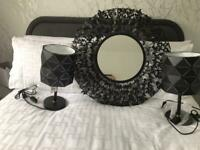 Mirror and lamps