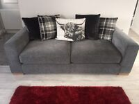 2 Piece Charcoal Highland DFS sofa with matching footstool