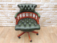 Captains antique green swivel chesterfield chair (Delivery)
