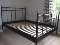 IKEA SVELVIK DOUBLE SIZE BLACK METAL BED FRAME