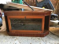 Wooden TV Stand with Glass Cabinet - Great Condition