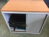Tambour file and storage cabinet