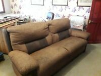 DFS 3 piece suite in brown with one reclining chair
