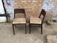 Pair of Brown Leather & Wood Restaurant Cafe Bistro Bar Pub Chairs Event