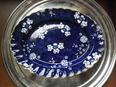 RARE ANTIQUE COPELAND DEEP BLUE SMALL OVAL SERVING PLATTER c 1890's