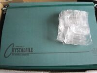 50 SUSPENSION FILES BY CRYSTALFILE GREEN NEW COMPLETE WITH TABS AND INSERTS