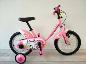 "(3050) 14"" B'TWIN TICHA Girls Kids Childs Bike Bicycle + STABILISERS; Age: 3-5; Height: 90-105 cm"