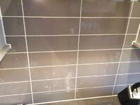 Cheap Kitchen tiles - smoke grey brick style