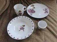 Beautiful ballerina design crockery set - plate, bowl, mug & egg holder
