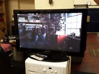 samsung 42 inch plasma hd tv with swivel stand, built in freeview, 3 x hdmi, remote and instructions