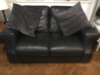 Black Leather Sofas (two) Good quality leather