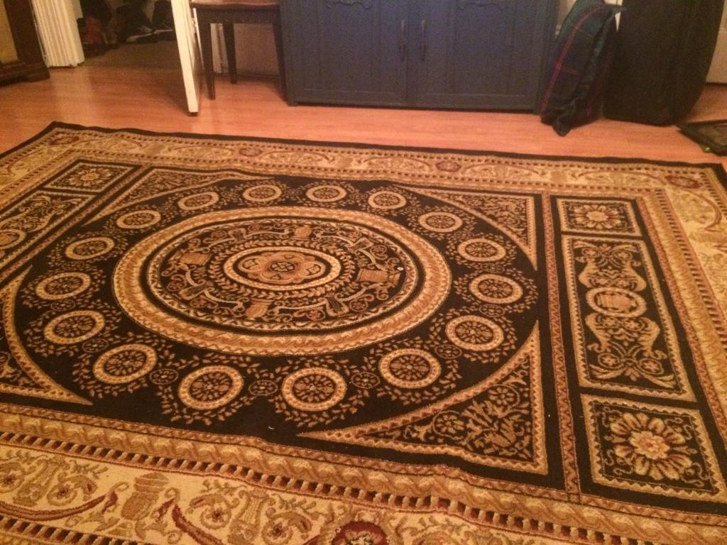 XLARGE Cream, Red, Gold & Black Aubusson Style Rug 6ft7x9ft3