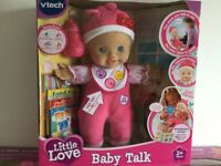 VTECH LITTLE LOVE BABY TALK DOLL, NEW IN UNOPENED BOX.