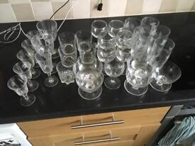 Selection of 32 glasses